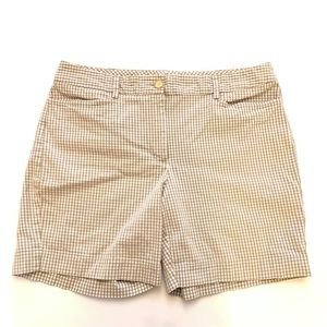 Lands' End Gray and White Gingham Plaid Shorts
